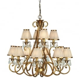 Oksana Stylish 12 Light Crystal Chandelier in Antique Brass Finish With Beige Shades 63521