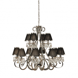 Oksana Stylish 12 Light Crystal Chandelier in Polished Nickel Finish With Black Shades 63507