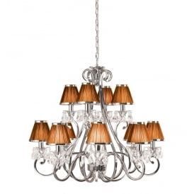Oksana Stylish 12 Light Crystal Chandelier in Polished Nickel Finish With Chocolate Shades 63509