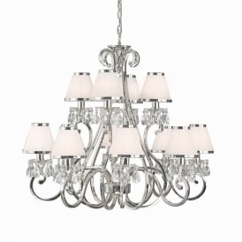 Oksana Stylish 12 Light Crystal Chandelier in Polished Nickel Finish With White Shades 63517