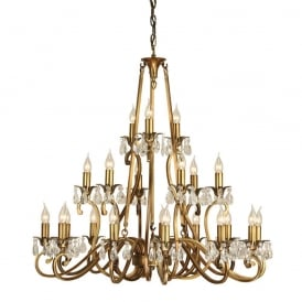 Oksana Stylish 21 Light Chandelier in Antique Brass Finish With Crystal Droplets UL1P21B
