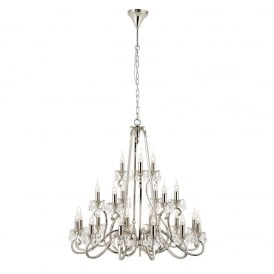 Oksana Stylish 21 Light Chandelier in Polished Nickel Finish With Crystal Droplets UL1P21N