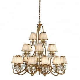 Oksana Stylish 21 Light Crystal Chandelier in Antique Brass Finish With Beige Shades 63519