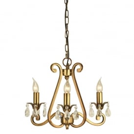 Oksana Stylish 3 Light Chandelier in Antique Brass Finish With Crystal Droplets UL1P3B