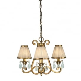 Oksana Stylish 3 Light Crystal Chandelier in Antique Brass Finish With Beige Shades 63520