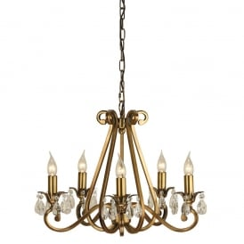 Oksana Stylish 5 Light Chandelier in Antique Brass Finish With Crystal Droplets UL1P5B