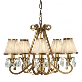 Oksana Stylish 5 Light Crystal Chandelier in Antique Brass Finish With Beige Shades 63522