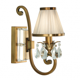 Oksana Stylish Single Crystal Wall Light in Antique Brass Finish With Beige Shade 63538