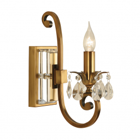 Oksana Stylish Single Wall Light in Antique Brass Finish With Crystal Droplets UL1W1B