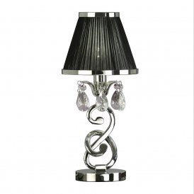Oksana Stylish Table Lamp in Polished Nickel Finish With Black Shade 63525