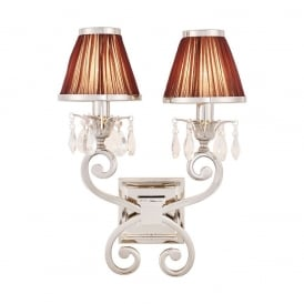 Oksana Stylish Twin Crystal Wall Light in Polished Nickel Finish With Chocolate Shades 63535