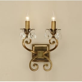 Oksana Stylish Twin Wall Light in Antique Brass Finish With Crystal Droplets UL1W2B
