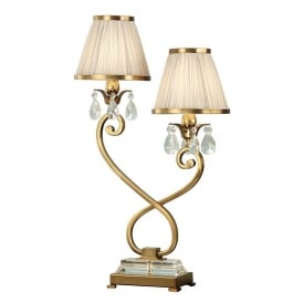 Oksana Twin Table Lamp in Antique Brass Finish With Beige Shades 63530