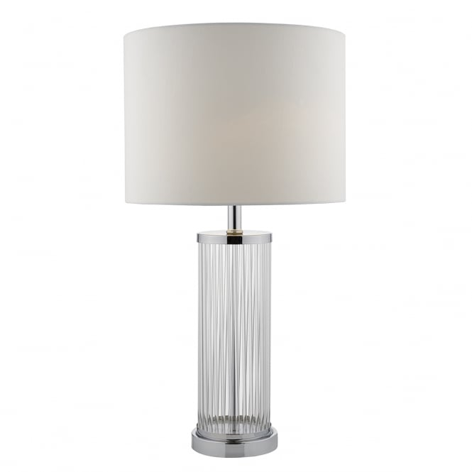 Dar Lighting Olalla Glass Table Lamp with Ivory Shade with White Lining OLA4350/X