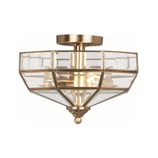 Elstead OLD PARK S/F ANTIQUE BRASS ceiling light Semi Flush