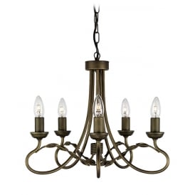 Olivia 5 Light Ceiling Chandelier In Black Finish With Gold Highlights OV5 BLK/GOLD