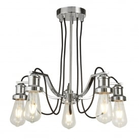 Olivia Modern 5 Light Ceiling Pendant Fitting In Polished Chrome Finish 1065-5CC