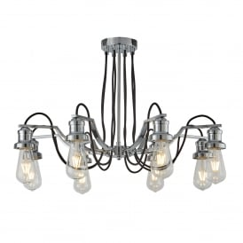 Olivia Modern 8 Light Ceiling Pendant Fitting In Polished Chrome Finish 1068-8CC