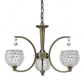 Omni Modern 3 Light Semi Flush Ceiling Fitting In Bronze With Glass Shades FL2340/3