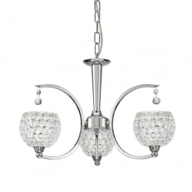 Omni Modern 3 Light Semi Flush Ceiling Fitting In Chrome With Glass Shades FL2339/3