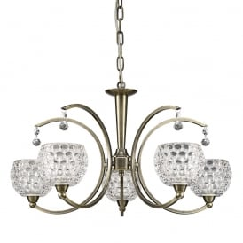 Omni Modern 5 Light Semi Flush Ceiling Fitting In Bronze With Glass Shades FL2340/5