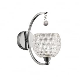 Omni Modern Single Wall Light In Chrome With Dimpled Glass Shade FL2339/1