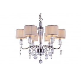 Ophelia Elegant 6 Light Ceiling Pendant In Chrome Finish With Linen Shades MD15027053-6A
