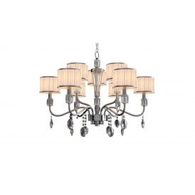 Ophelia Elegant 9 Light Ceiling Pendant In Chrome Finish With Linen Shades MD15027053-9A