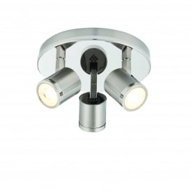 Oracle Modern LED Three Light Ceiling Spotlight In Bright And Brushed Nickel Finish 71048
