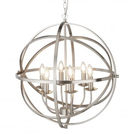 Orbit Classic 6 Light Ceiling Pendant In Satin Silver Finish 2476-6SS