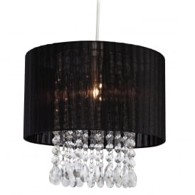 Organza Non Electric Easy Fit Ceiling Pendant Shade In Black With Clear Acrylic 8634BK