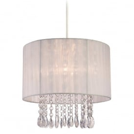Organza Non Electric Easy Fit Ceiling Pendant Shade In White With Clear Acrylic 8634WH