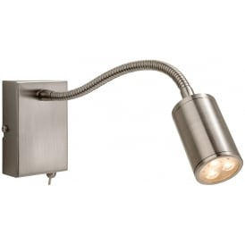 Orion LED Flexible Reading Wall Light in Brushed Steel Finish 3454BS