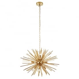 Orta Modern Nine Light Ceiling Pendant In Matt Brushed Gold Effect Finish 70575