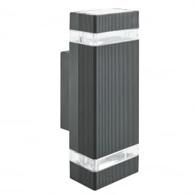 Outdoor LED Wall Light In Black Finish With Clear Diffuser 1002-2BK-LED