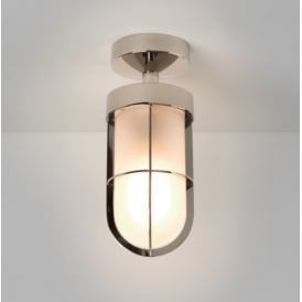Outdoor Semi Flush Ceiling Light in Polished Nickel Finish CABIN 7852