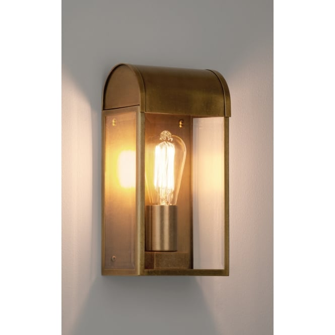 Astro Lighting Outdoor Wall Light In Antique Brass Finish with Glass Panels NEWBURY 7862
