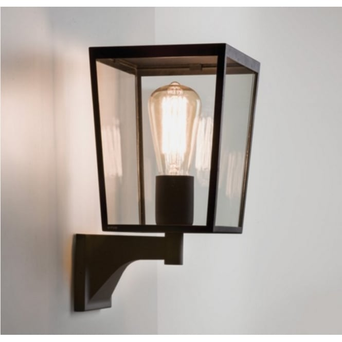Astro Lighting Outdoor Wall Light In Black Finish With Glass Panels FARRINGDON 7488