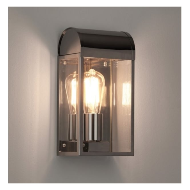 Astro Lighting Outdoor Wall Light In Polished Nickel Finish with Glass Panels NEWBURY 7863