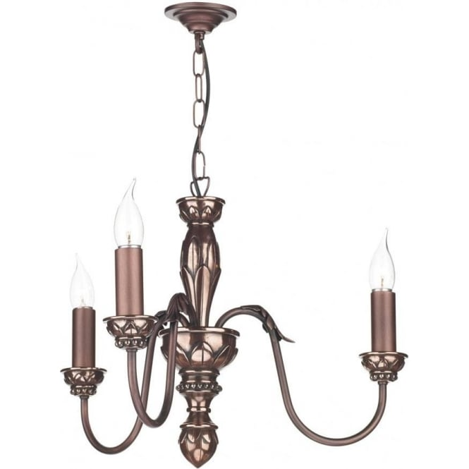 Dar Lighting Oxford 3 Light Copper Pendant with Shades OX364 + ROH0722/WH