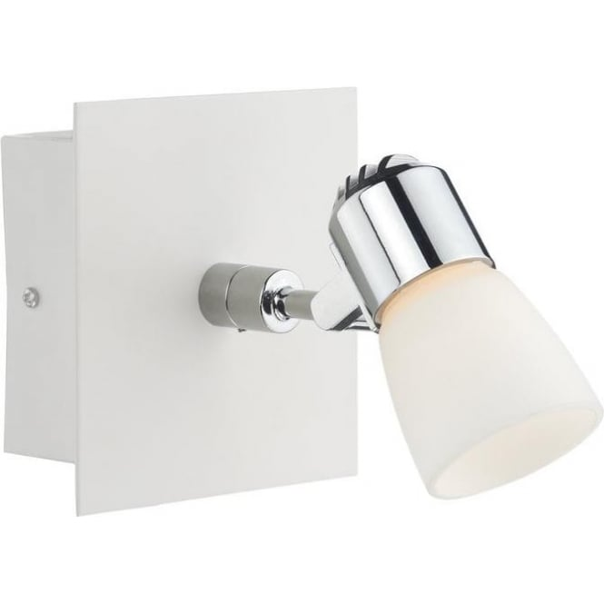 Oxygen Modern 1 Light White & Polished Chrome Wall Spotlight OXY072