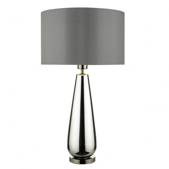Dar Lighting Pablo Gloss Black Glass Table Lamp With Grey Lined Shade PAB4267