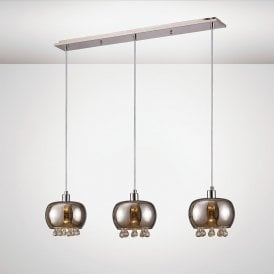 Pandora Linear Ceiling Pendant In Polished Chrome With Mirrored Glass Shade IL31602