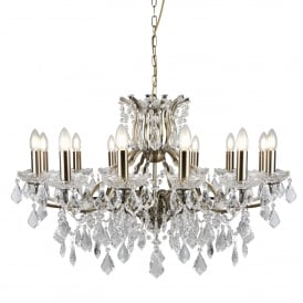 Paris Classic 12 Light Ceiling Chandelier In Antique Brass Finish With Crystal Glass 87312-12AB