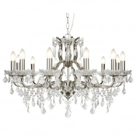 Paris Classic 12 Light Ceiling Chandelier In Satin Silver With Crystal Glass 87312-12SS