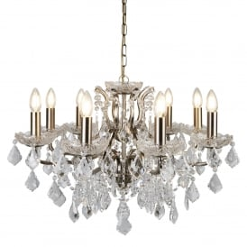 Paris Classic 8 Light Ceiling Chandelier In Antique Brass With Crystal Glass 8738-8AB