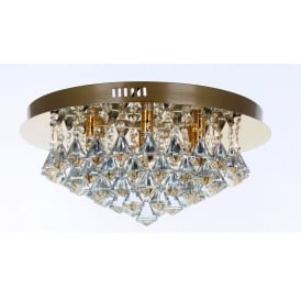 Parma 6 Light Crystal Ceiling Flush Light In Gold Finish CFH011025/06/G