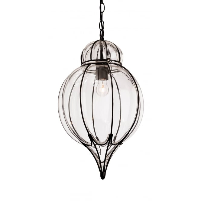 Firstlight Pascal Teadrop Ceiling Pendant In Black Finish With Clear Glass 4869