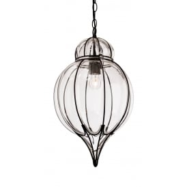 Pascal Teadrop Ceiling Pendant In Black Finish With Clear Glass 4869