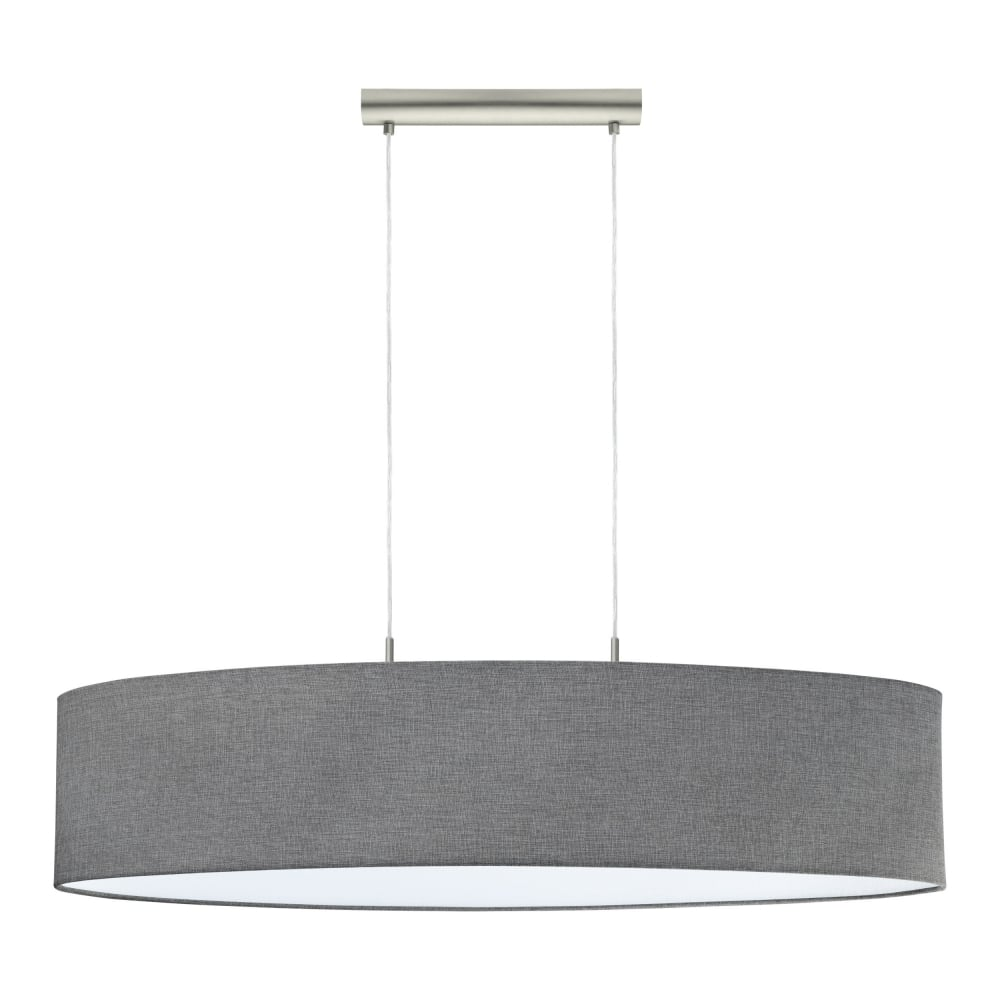 wholesale dealer a8d76 371ef Pasteri 2 Light Large Ceiling Pendant Light In Satin Nickel With Linen Grey  Shade 96371